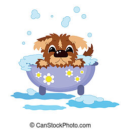 Puppy in the bath .