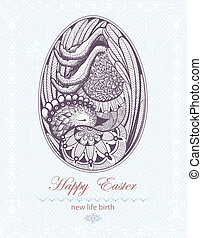Easter Egg with chicken embryo New life birth - Easter Egg...
