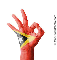 Hand making Ok sign, East Timor Timor-Leste flag painted as...