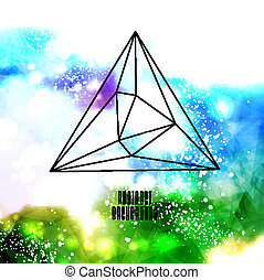 Hipster background made of triangles and space background -...