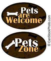 Pets are Welcome Zone - A circle element with pets pattern...