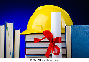 Concept of industrial education with hard hat