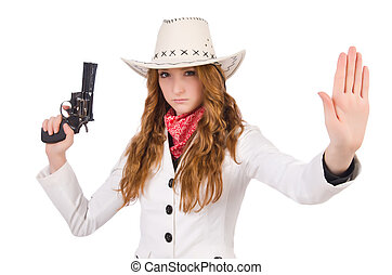 Young stopping cowgirl with gun isolated on white - Young...