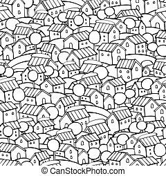 Cartoon fairy tale houses pattern - Cartoon vector fairy...