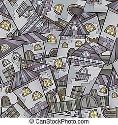 Cartoon houses seamless pattern - Cartoon vector fairy tale...