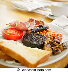Full Scottish breakfast - Plate with Full Scottish breakfast...