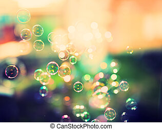 Soap bubbles, abstract background, retro tinted