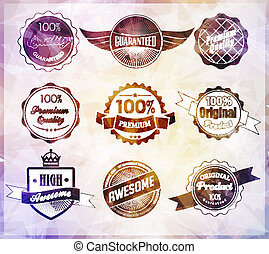 three-dimensional - Set of retro vintage labels Vector...