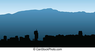 Santiago Skyline - Skyline silhouette of the city of...