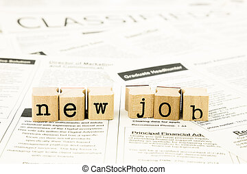 new job wording stack on classifieds ads - closeup new job...