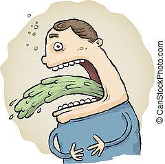 Sick Vomit - A cartoon man vomits a stream of green vomit.