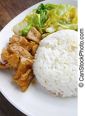 food - Fried porks with white rice and sweet sauce.