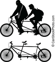Two-seater bike - Two bicyclist on one bike silhouette...