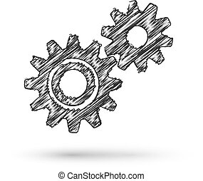 Vector gears working business concept doodle style