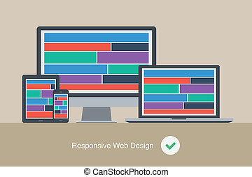 flat responsive web design device