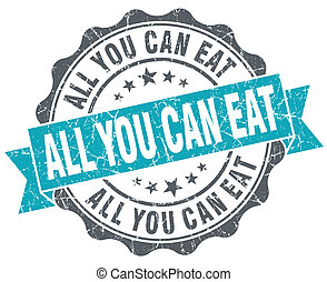 All you can eat blue grunge retro style isolated seal
