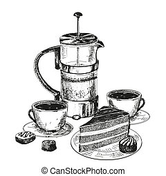 Teapot, cup and chocolate cake. Hand drawn illustration