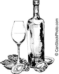 Bottle of wine, oysters and glass. Hand drawn illustration