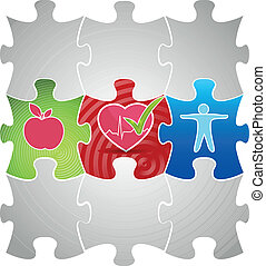 Healthy living puzzle concept Healthy food and fitness leads...