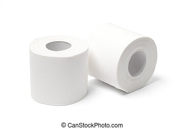 Toilet Paper Rolls - With Clipping Path - Two white toilet...