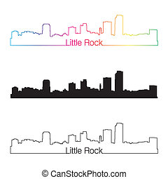 Little Rock skyline linear style with rainbow in editable...