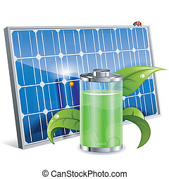 Solar Panel - Green Energy Concept with Solar Panel, Battery...