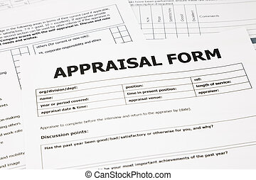 appraisal form and paperwork - closeup appraisal form and...