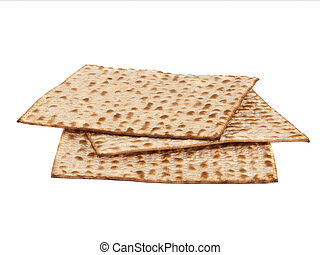 Matzo - Three matzot on white background Matzo - jewish...