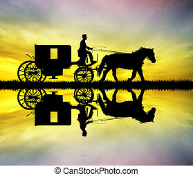 carriage ride at sunset - illustration of carriage ride at...