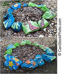 pedras, azul, pintado, tema, verde, desenhos, marinho,  flowerbeds