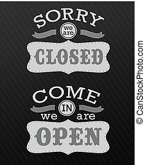 Image of various open and closed business signs isolated on...