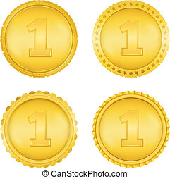 Golden Medals - Four different golden medals, vector eps10...
