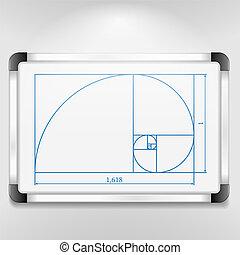Golden Ratio - Whiteboard with golden ratio, vector eps10...