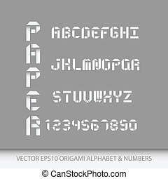 Origami alphabet letters and numbers.Vector illustration EPS10