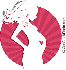 Pregnant woman - Vector illustration (eps 10) of Pregnant...
