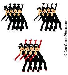 coro, linha, Dançarinos, 3, estilos