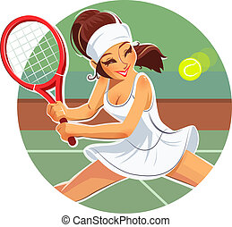 Beautiful girl play tennis. Eps10 vector illustration....