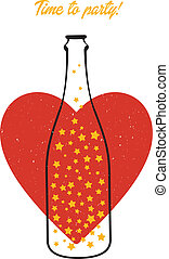 Bottle and heart - Vector illustration (eps 10) of Bottle...
