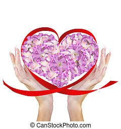 Heart Flowers in Female HandsLove conceptBeautiful Abstract...