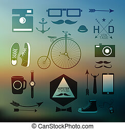 Hipster style elements, icons and labels on blur background...