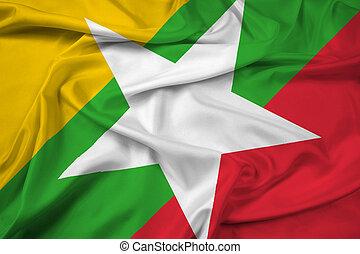 Waving Burma Flag