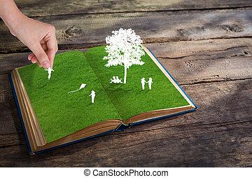 papel, corte, crianças, jogo, verde, capim, livro