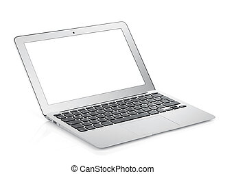 Netbook with white blank screen. Isolated on white...