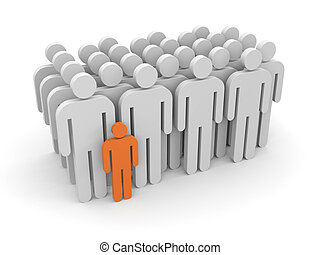 Standing out from the crowd - Leadership concept. Isolated...