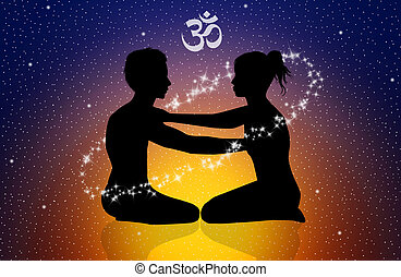 Yoga - illustration of cosmic energy