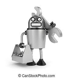 鋼鉄, ロボット, 道具箱