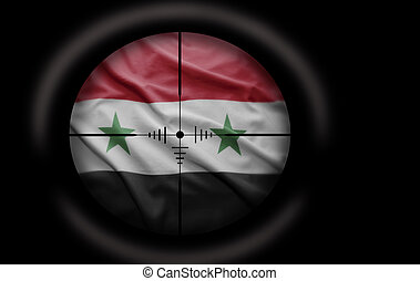 Syrian target - Sniper scope aimed at the Syrian flag
