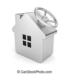 Safe house - Security concept. Isolated on white