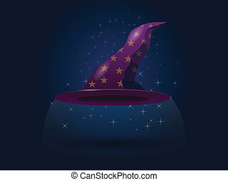Wizard Hat - Illustration of a purple wizard's hat with gold...