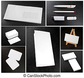 white collection of stationery on background leather texture